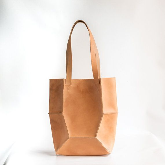 Natural Leather Tote von CrowSLC auf Etsy