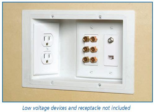 recessed outlets so furniture can fit flat against the wall and there are no messy cords