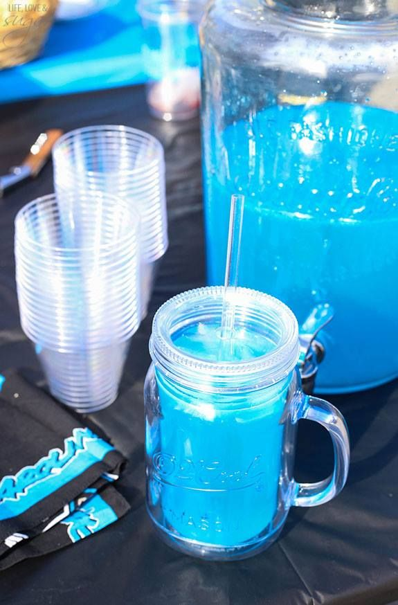 Carolina Panther Punch Serves about 10 people Ingredients 375 ml Blue Curacao (half of a 1.75 ml bottle) 1 L mandrin Vodka 1.75 L Lemonade 12 oz can Sprite combine in large pitcher