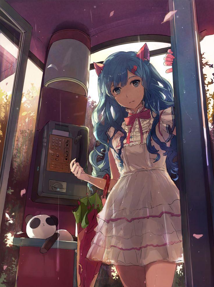 Anime art anime neko cat girl dress - Anime girl on phone ...