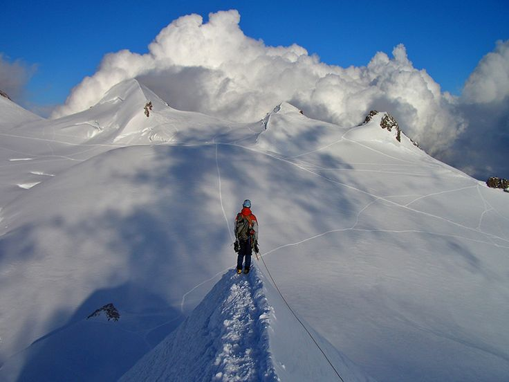 Photo of alpinst on the Lyskamm after an exhausting climb up the north face