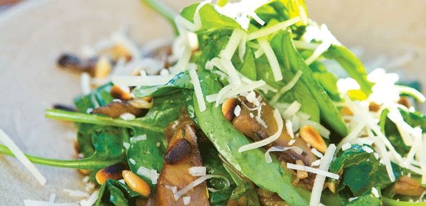 Warm Portobello Mushrooms with Spinach, Pine Nuts and Caramelized ...