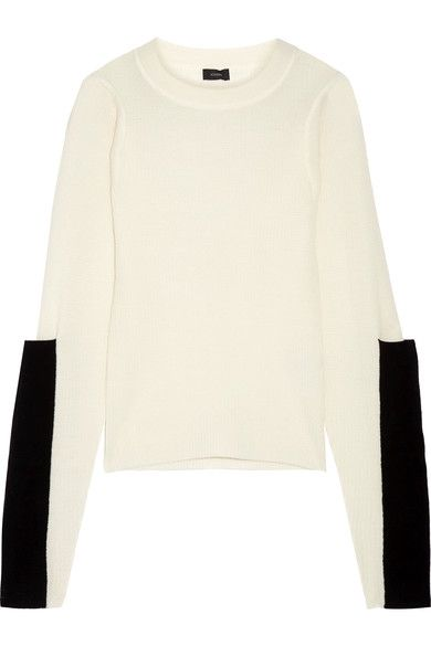JOSEPH PANELED WAFFLE-KNIT MERINO WOOL SWEATER. #joseph #cloth #