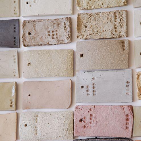 Clay samples for ceramic cups, by Elke van den Berg