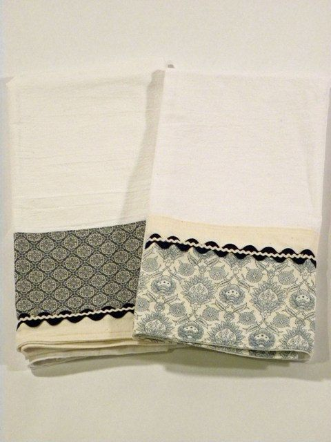 I like this idea, perhaps with the same fabrics.  I am liking the flour sack ideas! Blue Tea Towel Flour Sack Towel Set of Two by RegansSweatShoppe
