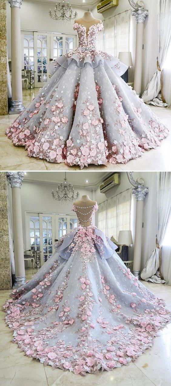 Pretty Light Blue Quinceanera Dress Ball Gown Flowers Evening Dress Long Backless Wedding Prom Gowns Formal Dress For Teens Brides