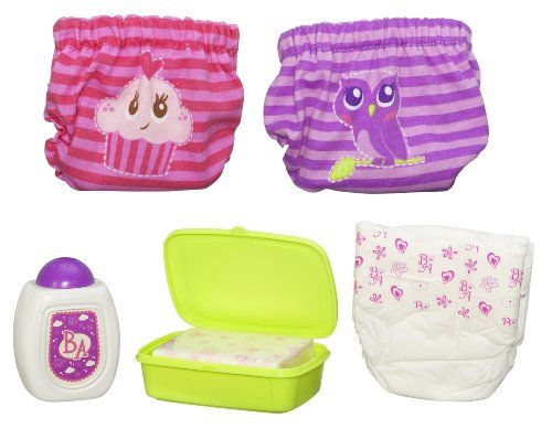 Baby Alive Diaper Cover Set (19014) -  Product Features  Baby Alive 6 Piece Nappy Cover Set from Hasbro 2 Nappy Covers, Talc Bottle, Nappy, Wipes, Wipe Case for your Baby Alive Doll Baby Alive Doll Not Included - Sold Separately