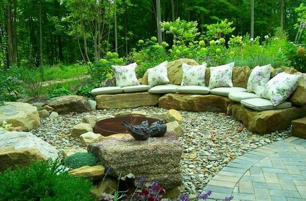rock landscaping with seating