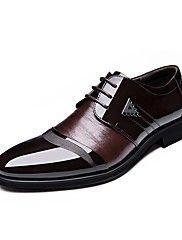 Masculino-Oxfords-Conforto Sapatos formais-Rasteiro-Preto Marrom-Courino-Ar-Livre Escritório & Trabalho Casual Festas & Noite