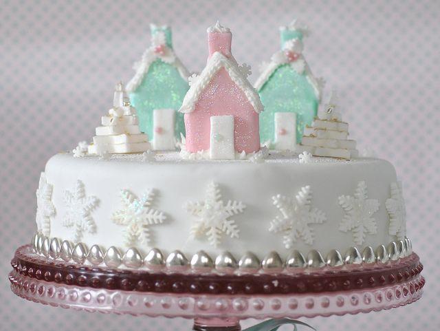 Pastel house Christmas cake