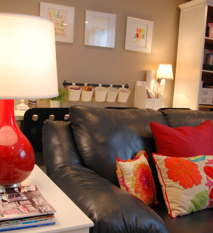 Basement family room tour - decorated with happy colors and modern/whimsical accessories.  A Pop of Pretty, apopofpretty.com