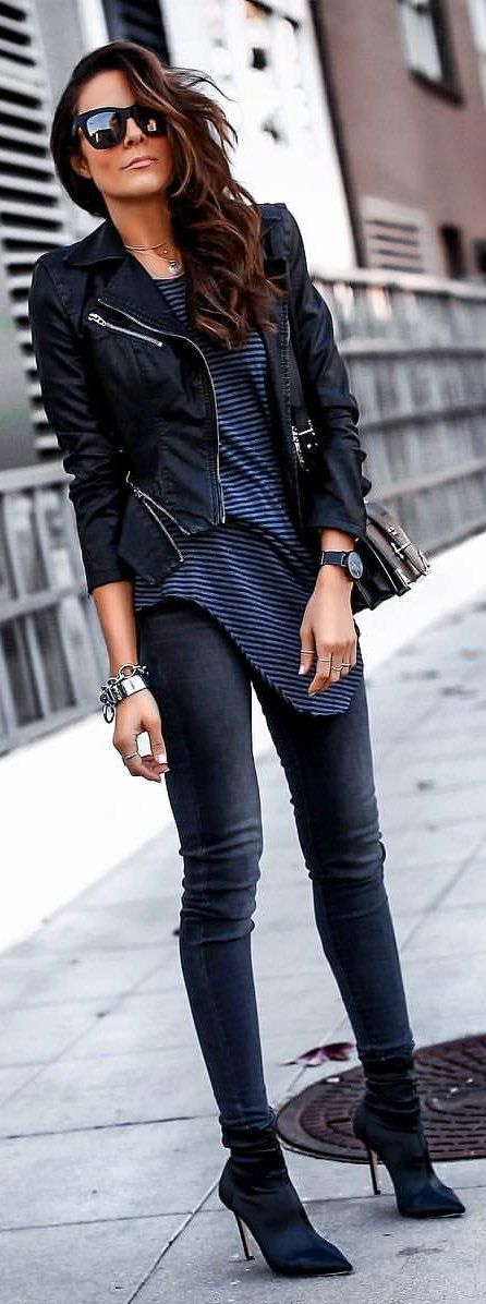 #winter #outfits black leather full-zip jacket. Pic by @lucyswhims.