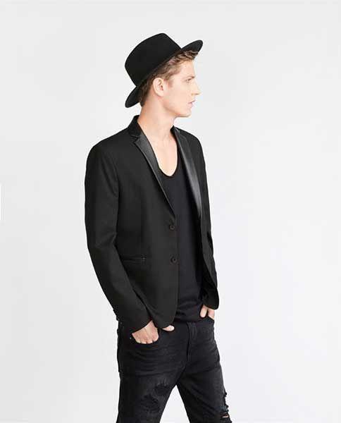 Zara deri detaylı siyah blazer