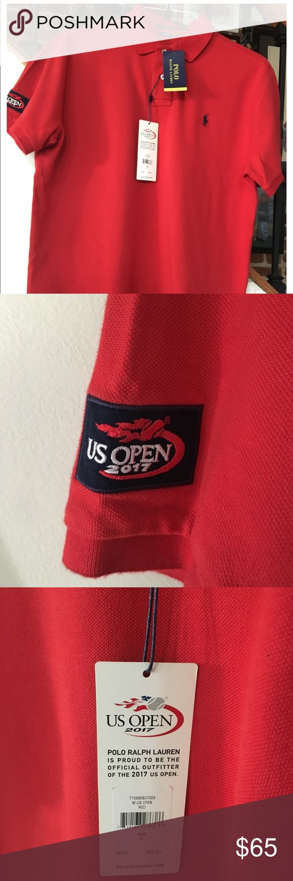 2017 Ralph Lauren US open RED Polo Shirt This is a Authentic 2017 Ralph Lauren US open Red Polo Shirt directly from the US open in Queens New York. It's a custom Fit Large.. Polo by Ralph Lauren Shirts Polos