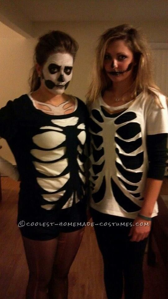 Last Minute Homemade Sister Skeletons Halloween Costumes... minus the 'halloween is for whores' bottom half of the girl on the left, of course lol
