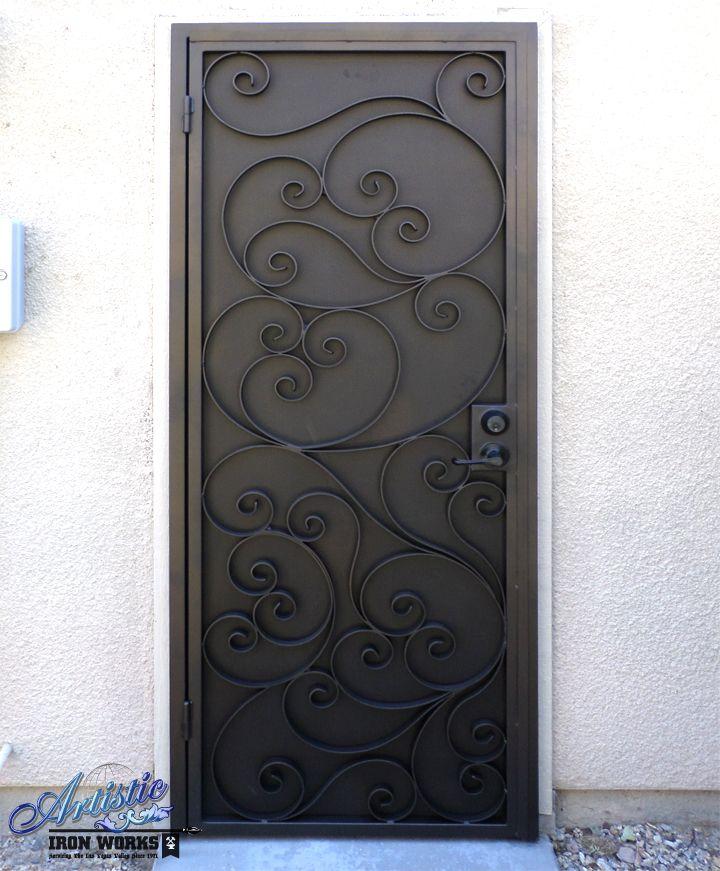 Scrolled wrought iron security screen door wrought iron for Wrought iron security doors