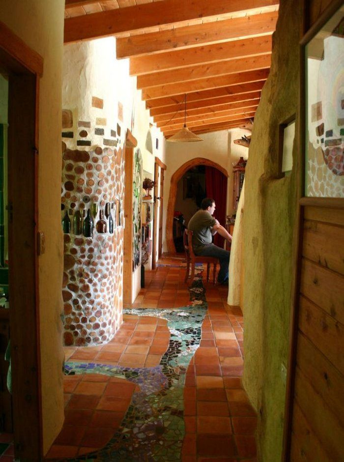 Cordwood Construction   Indoor Tile Mosaic U0027streamu0027, Interior Cordwood  Wall, And Hand