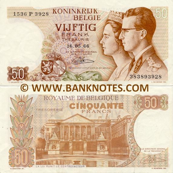 belgium currency | Belgium 50 Francs 1966 - Belgian Currency Bank Notes, Paper Money ...