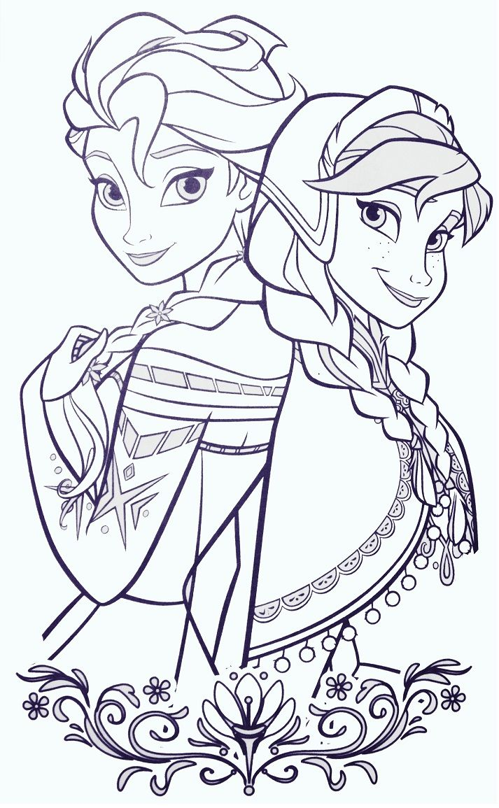 Elsa And ANna Frozen Coloring SheetsColoring