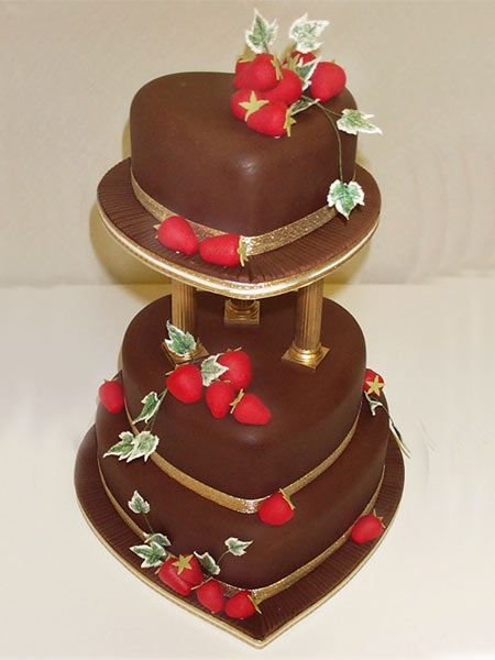 strawberry heart wedding cake