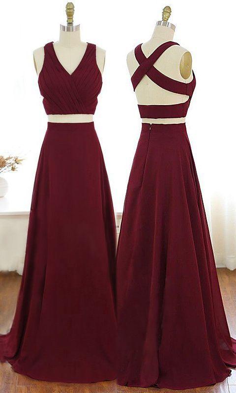 V-Neck Burgundy Party Dress Criss-Cross Straps Chiffon Two Piece Prom Dress – Kleider