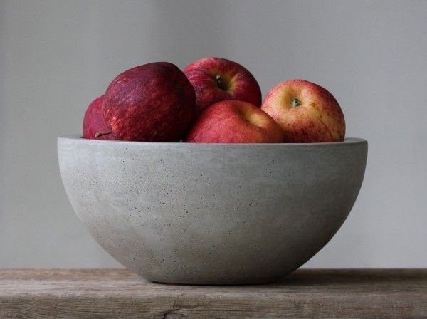 Concrete Fruit Bowl: This sturdy concrete bowl provides the perfect final touch for your industrial decor theme. Thanks to its FDA approved sealer, it also works well forr serving salads or meals.