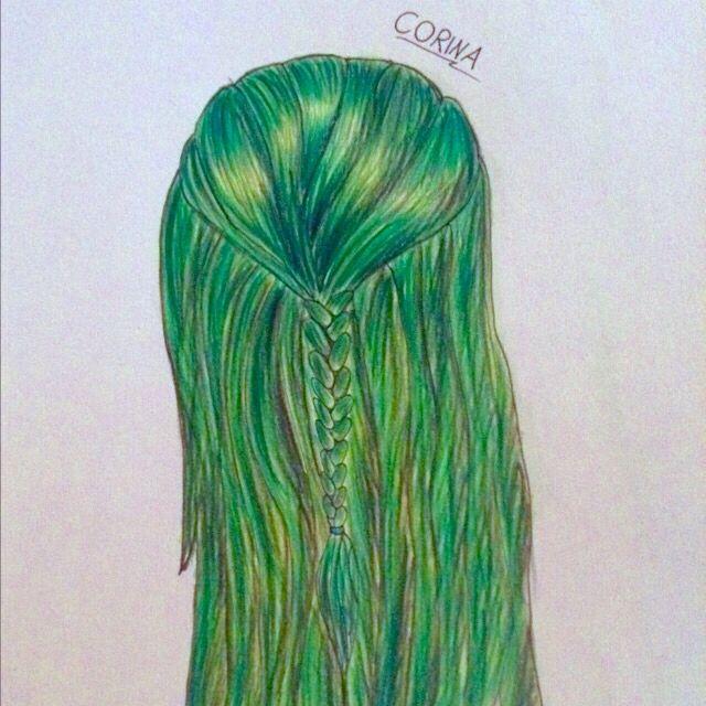 Draw drawing Zeichnung  hair green Zopf Haare hairdrawing zeichnen greenhair