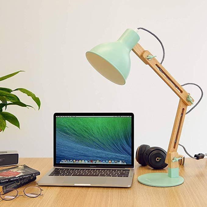 Tomons Swing Arm Led Schreibtischlampe Holz Designer Tischlampe Leseleuchten Fur