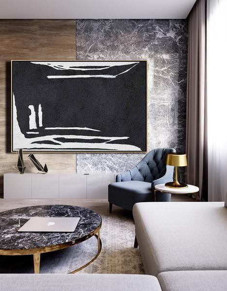 CZ Art Design. Horizontal Minimal Art, minimalist painting on canvas, black and ... home interior painting