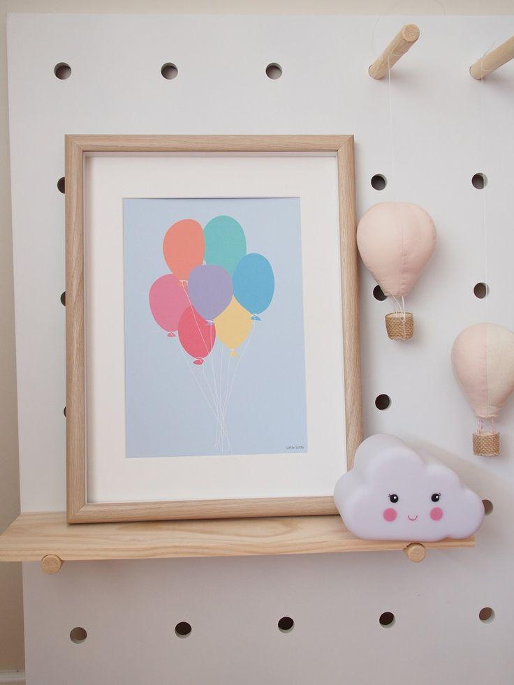 Colourful balloons nursery bedroom wall art print.  Art print, modern wall art. by LittleSotty on Etsy