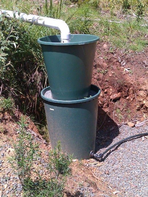 Mulch filter in upper drum..  Gravel in lower drum.
