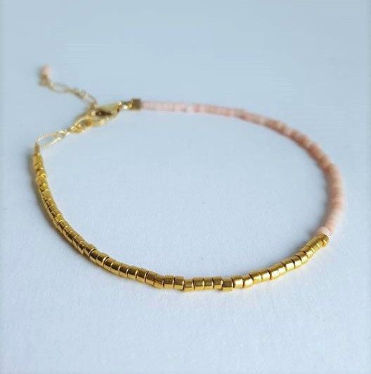 Single Two Toned Minimalist Bracelet // Pink and Gold Color Bracelet // Stacking…