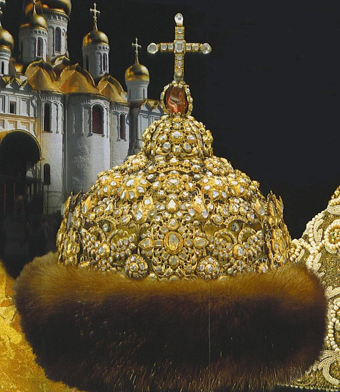 Crown of Peter the Great Sable Gold Diamonds and a Spinel, Russian Crown Jewels