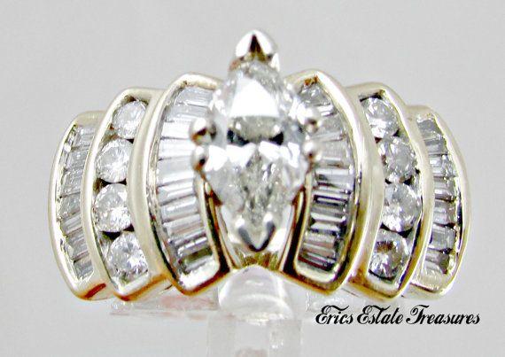 Vintage 1.85 ct 14K Marquise Diamond by EricsEstateTreasures