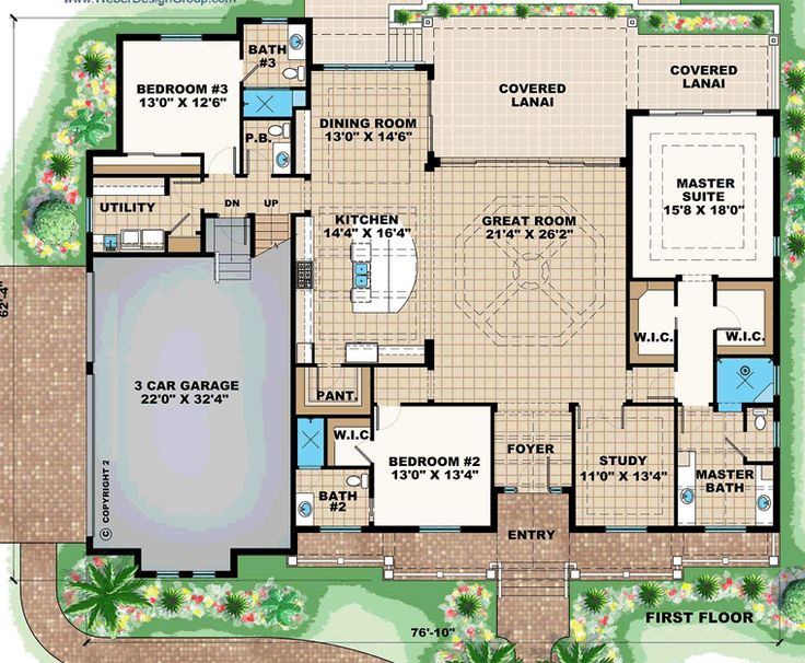 Contemporary Florida French Country House Plan 75961 Level One
