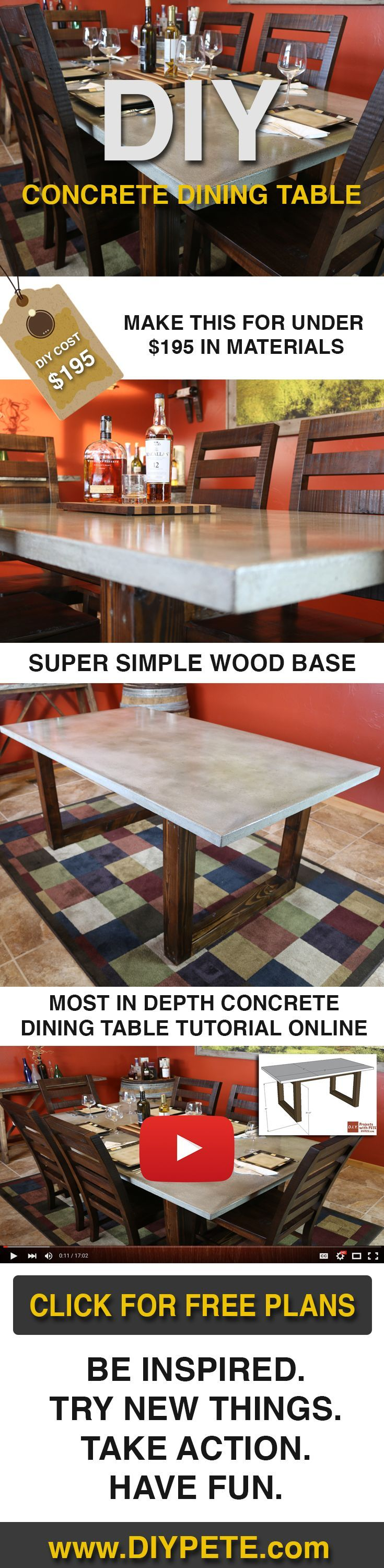 Make this Concrete Dining Table for under $200! Free DIY plans, video tutorial, and post at DIYPETE.com. Click on the photo for all the info, and re-pin to share with your friends! DIy Furniture plans build your own furniture #diy