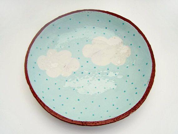 Hand Painted Cloud plat en céramique - poterie assiette - bol peu profond - céramique et poterie - Cloud plaque - sur mesure