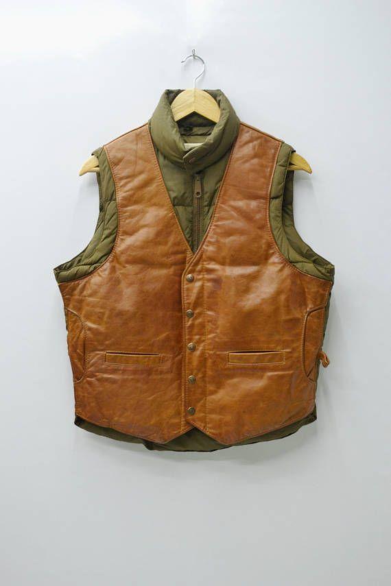 STUNNING!!! SCHOTT Jacket Vintage Schott N.Y.C. Sportswear Finest Insulation Down ET Plume Zipper Button Leather Vest Puffer Jacket Size 40