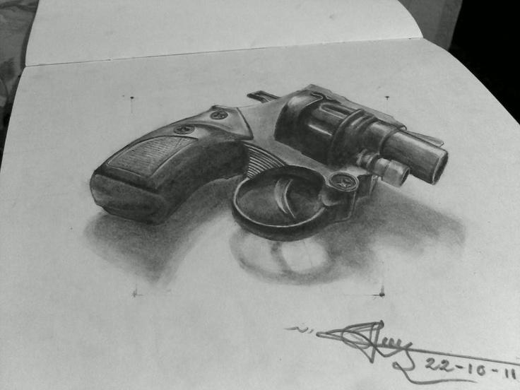 the 3d gun wonderful pencil drawing art | picgags | best ...