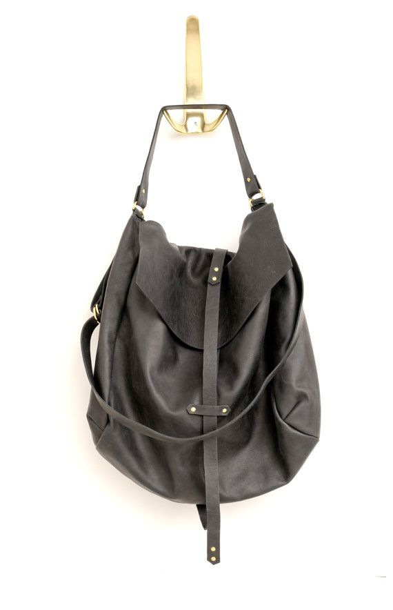 Black Leather Hobo by Stella and Lori on Etsy.