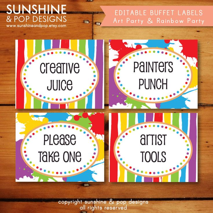 INSTANT DOWNLOAD - EDITABLE Rainbow Art Party Folding Buffet Card, Food Tag, Label - Custom pdf - Paint Splatter Painting Party. $6.99, via Etsy.