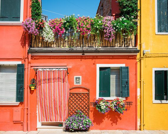 Burano Photography, Bright Print, Bright Wall Art, Burano Venice, Burano Print, Orange Photo, Orange House Print, Bright Yellow, Tangerine