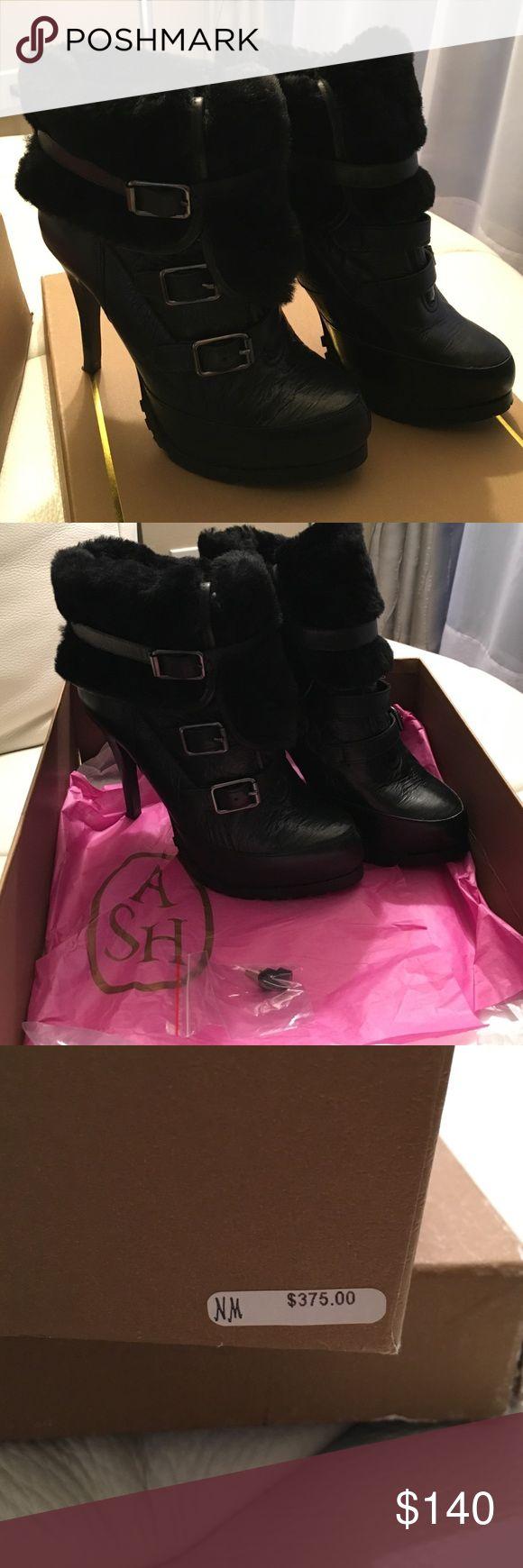 Ash Boots Women's Black Enigma Faux Rabbit Fur-lined Ankle Boots. Worn couple times. Ash Shoes Ankle Boots & Booties