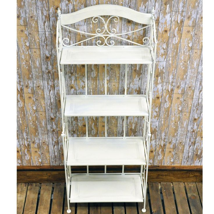 Vintage Style Wrought Iron Antique White Cream Metal