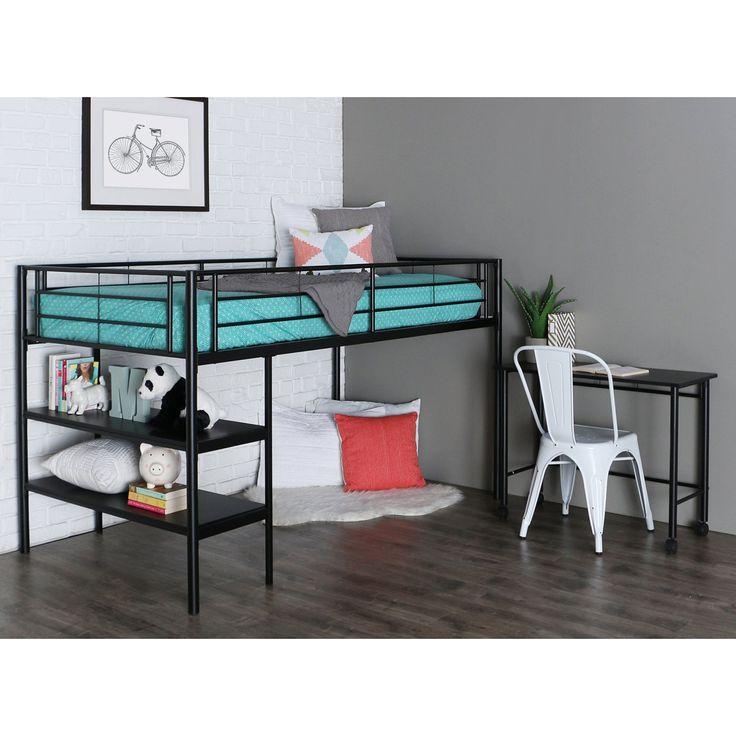 Black Twin Loft Bed with Desk and Shelves - HNTLD46SPBL