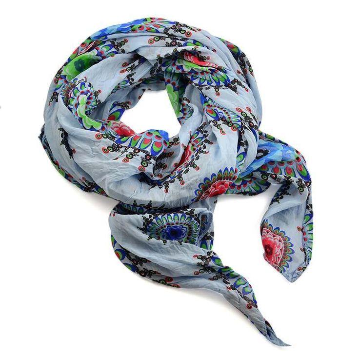 Šála bavlněná Carino 69ci006-31.02 - bledě modrá s kruhy - Bijoux Me!