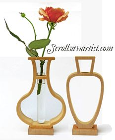 Scroll Saw Patterns :: Handy items :: Bud Vase Holders :: Two 2D Bud Vases -