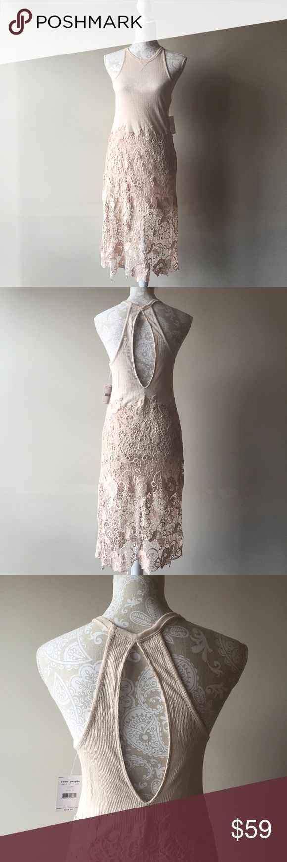 Free people cream lace midi dress Gorgeous new with tags midi dress with a lace skirt and keyhole back. Free People Dresses Midi