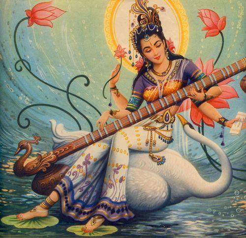 ƸӜƷ Sarasvati: Hindu goddess of words. Sarasvati is the creator of the arts, including music, dancing, and poetry ƸӜƷ