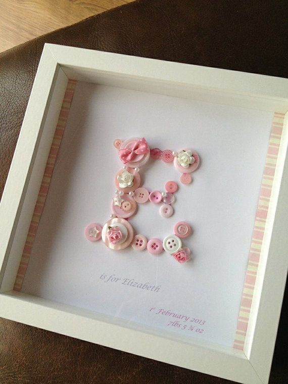 personalised baby christeningnew arrival gift button monogram in box frame via etsy